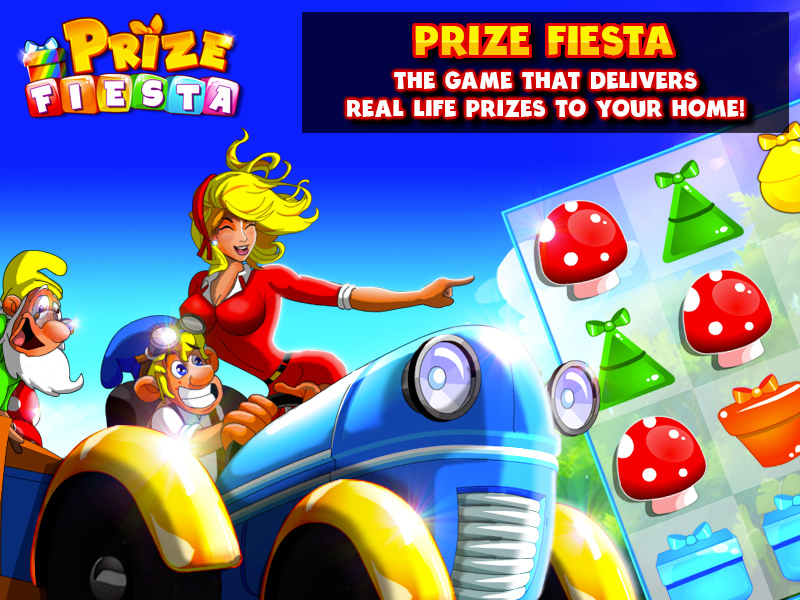 Prize Fiesta the first match 3 game to deliver real-life prizes to your home.